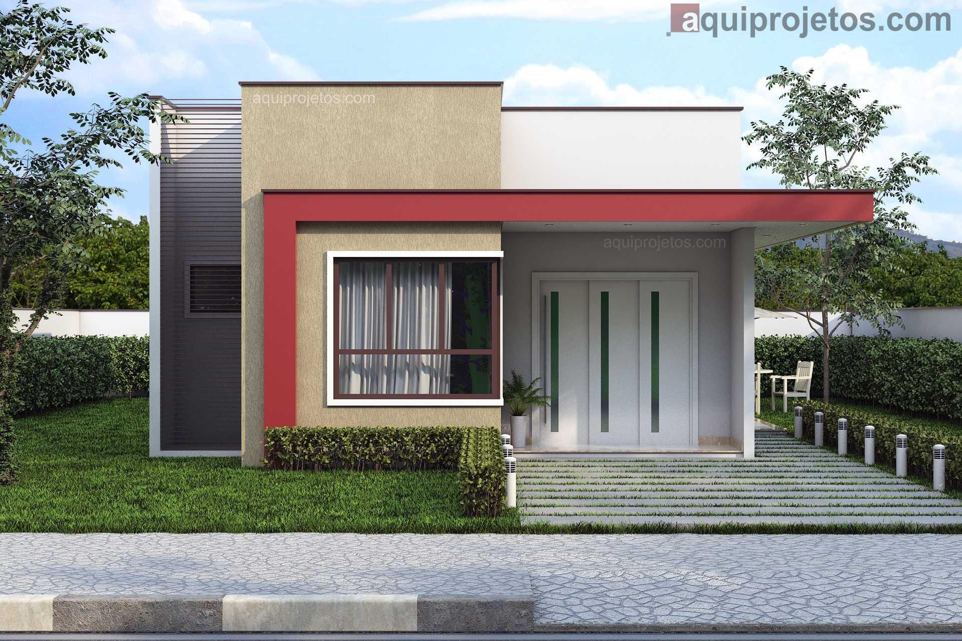 Fachada frontal moderna casa térrea 1 pavimento - Projeto Maceió - Cod G13 – aquiprojetos