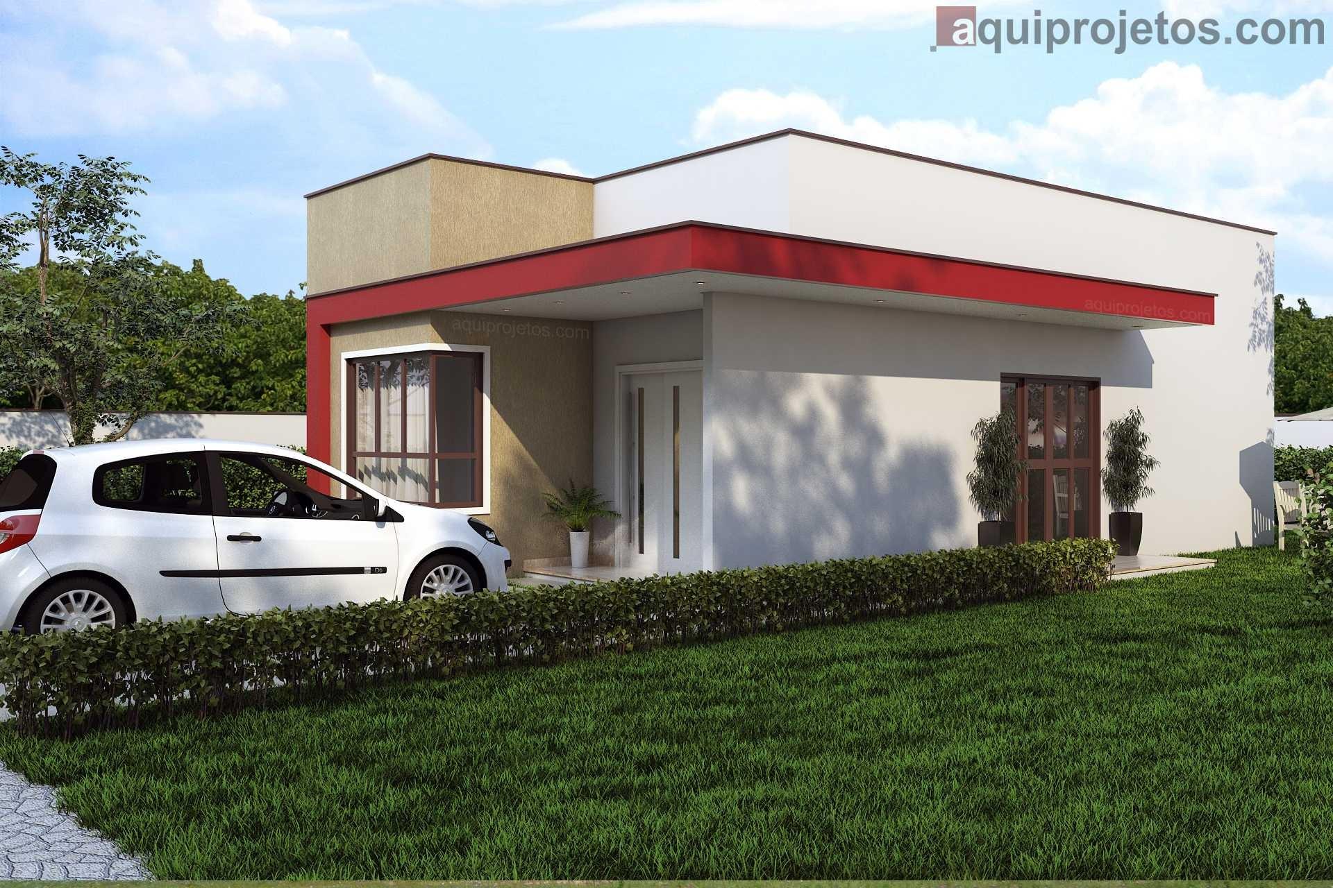 Fachada lateral diurna casa térrea areia e vermelha - Projeto Maceió - Cod G13 – aquiprojetos