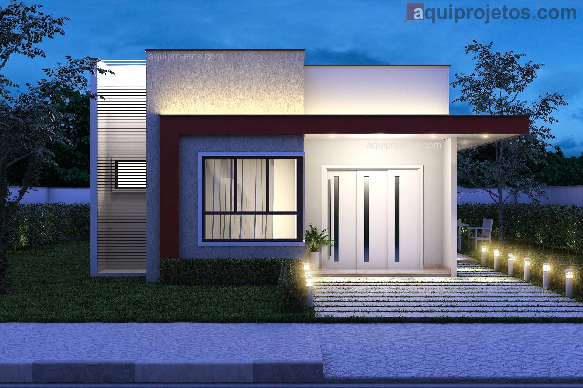 Fachada moderna frontal noturna iluminação casa 1 andar - Projeto Maceió - Cod G13 – aquiprojetos