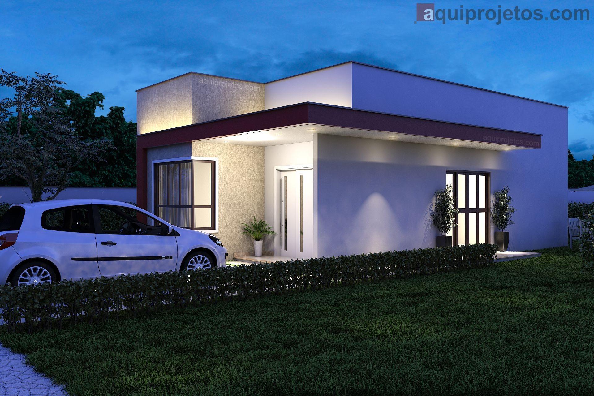 Fachada lateral noturna moderna casa de 1 pavimento - Projeto Maceió - Cod G13 – aquiprojetos