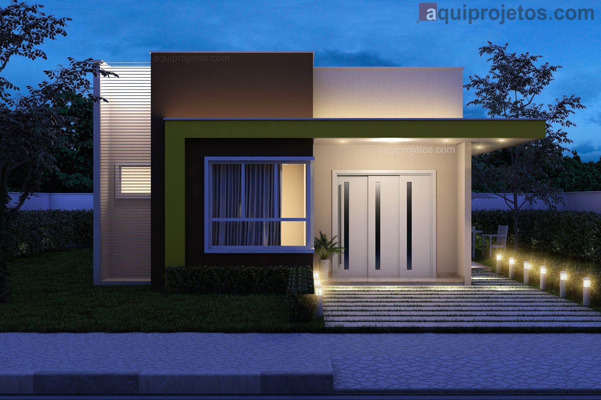 Fachada frontal noturna moderna casa térrea 1 pavimento andar - Projeto Macapá - Cod H14 – aquiprojetos