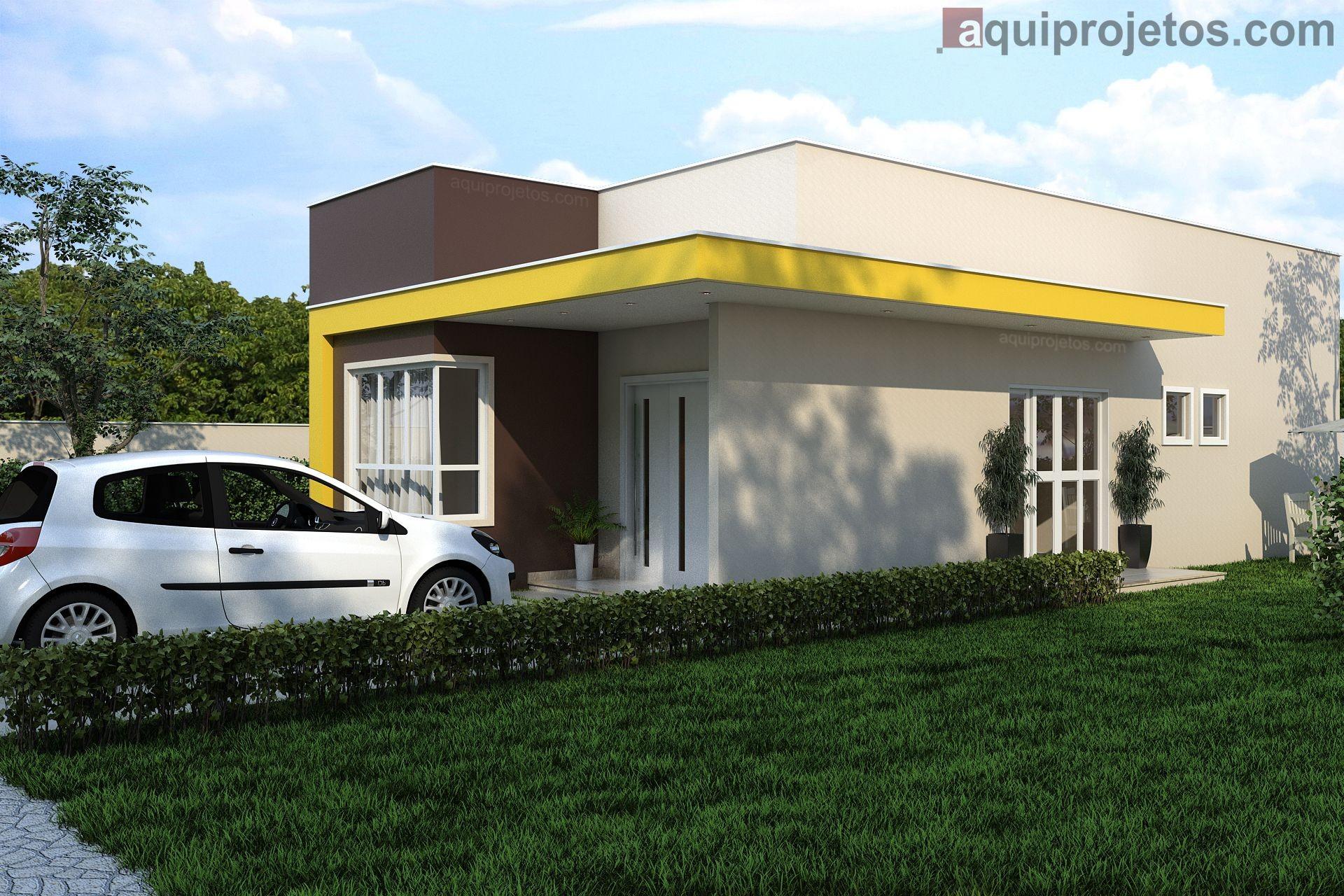 Fachada lateral diurna moderna casa de 1 pavimento marrom amarela - Projeto Macapá - Cod H14 – aquiprojetos